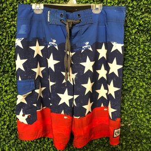 Men's  Swim board shorts 4th of July American flag